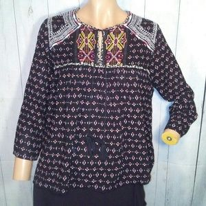 Anthro Maeve Black Embroidered Peasant Top Sz S
